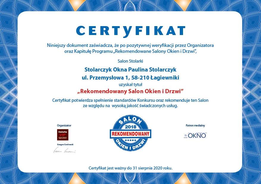 Certyfikat RSOiD III MFS4_STOLARCZYOKNA